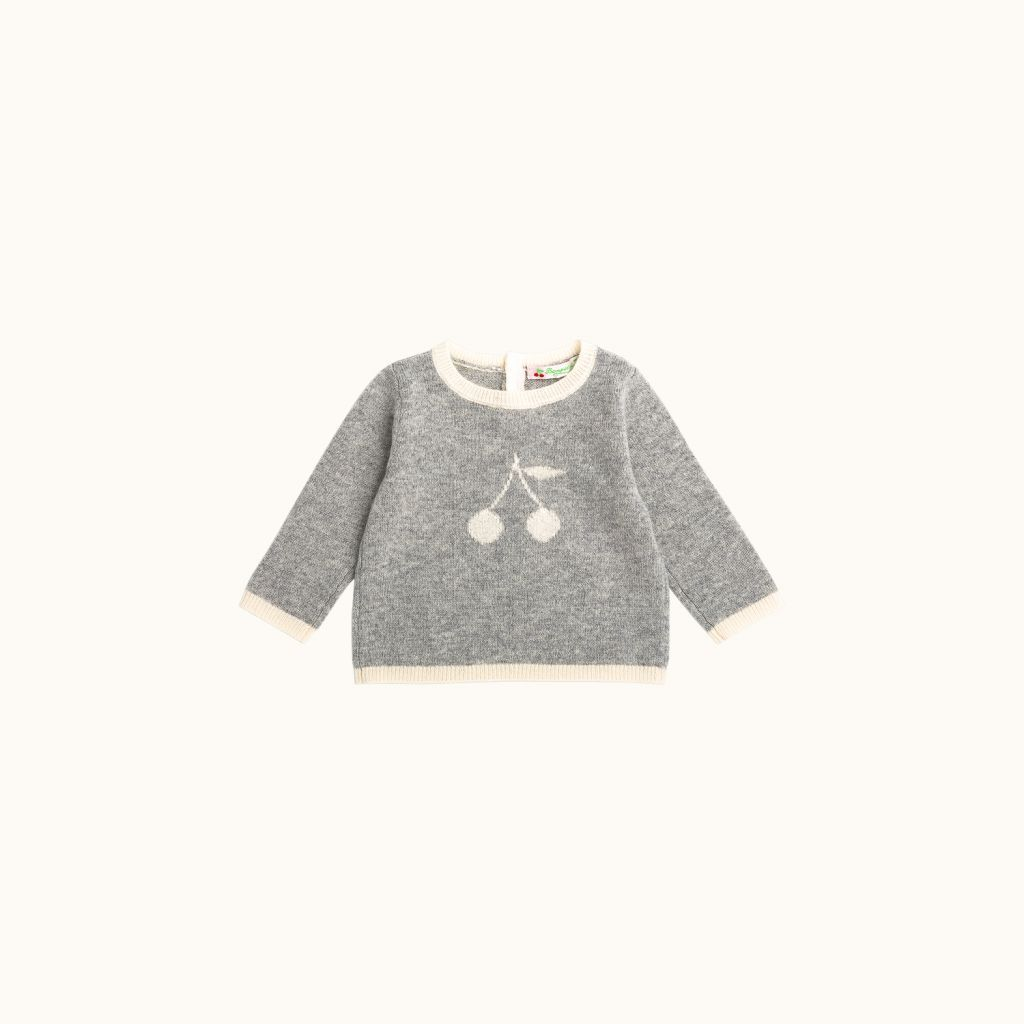 Babies' cashmere sweater heathered gray