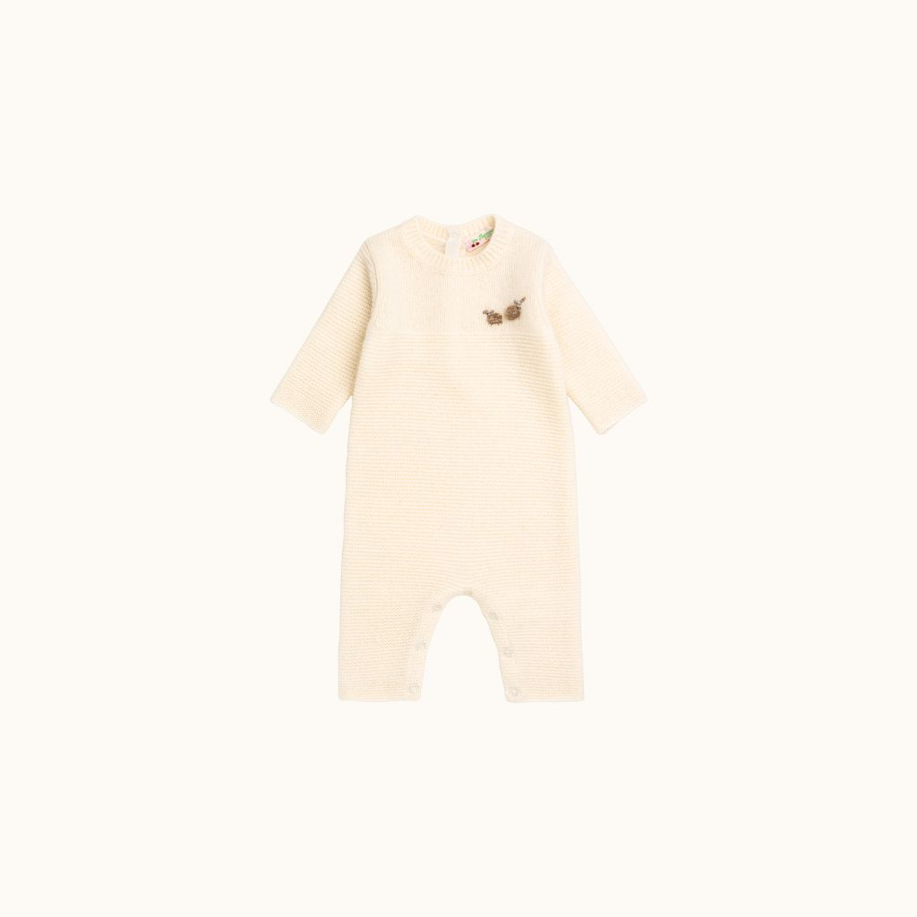 Cashmere baby playsuit ecru