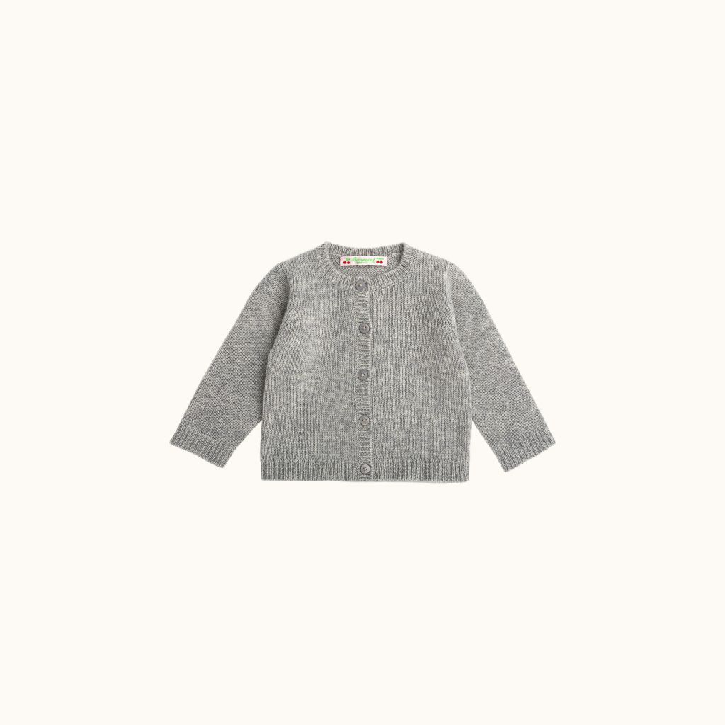 Babies' cashmere cardigan Heathered gray