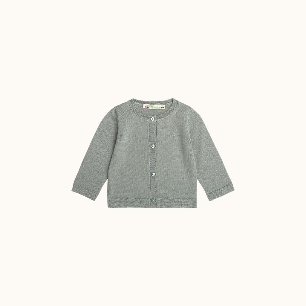 Babies' wool cardigan gray blue