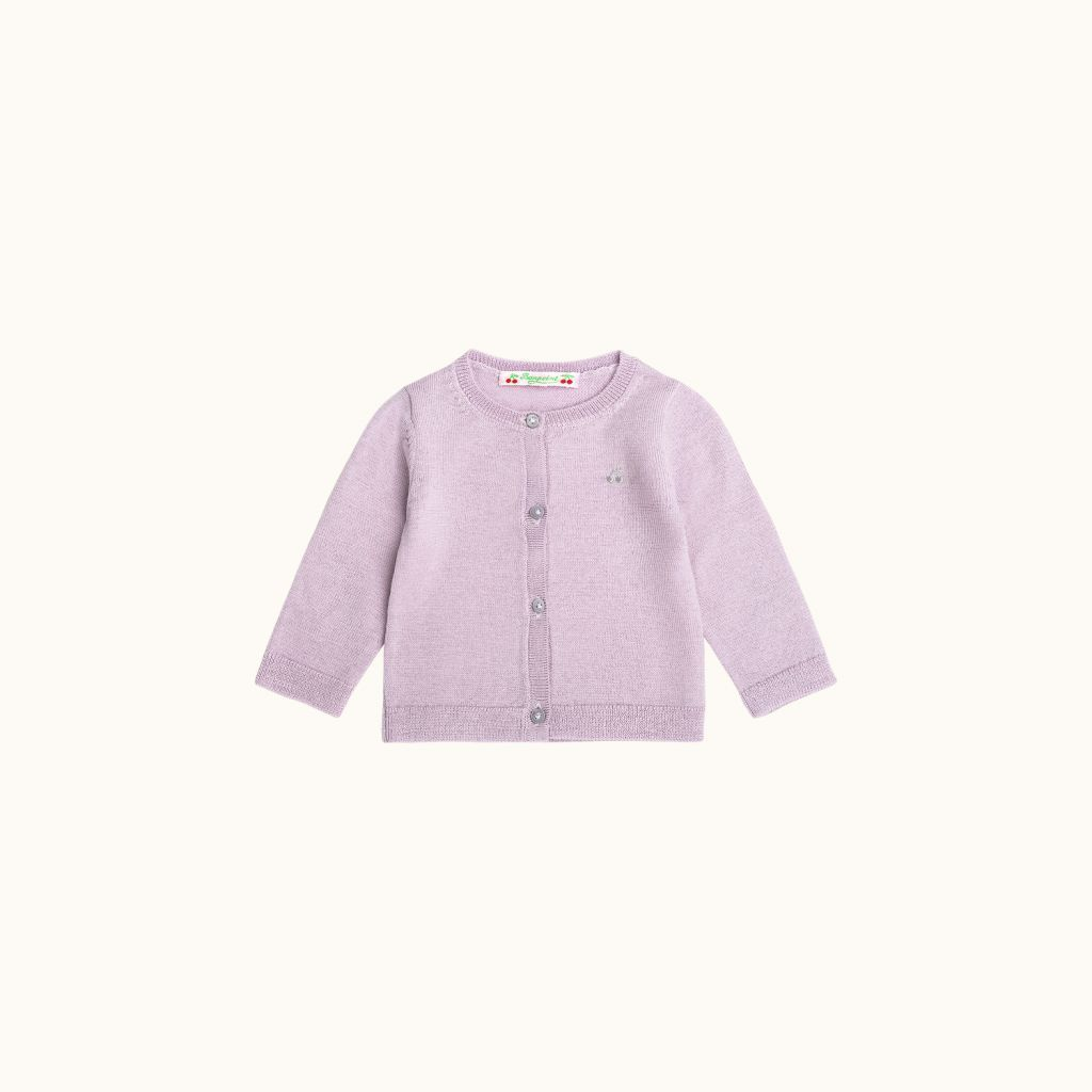 Babies' wool cardigan turtledove gray