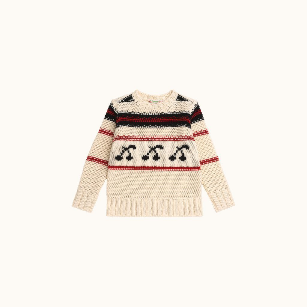 Sweater ecru with embroidered black cherries
