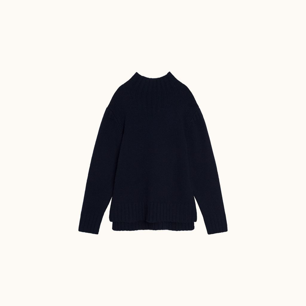 Stand-up collar sweater Navy