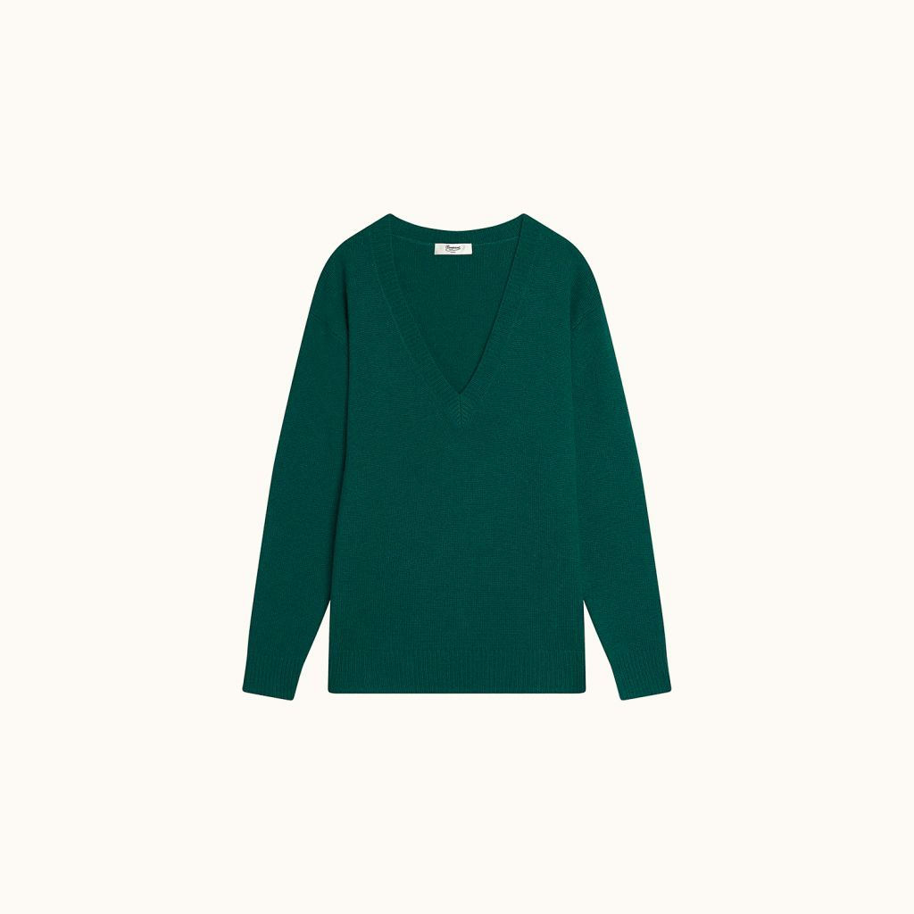Long-sleeved pullover emerald green