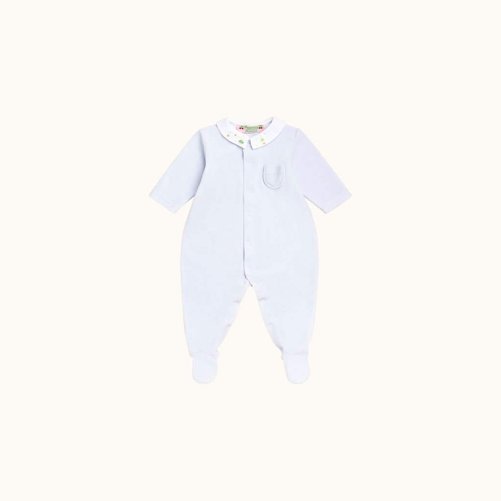 Baby pajamas with embroidered peter pan collar sky blue