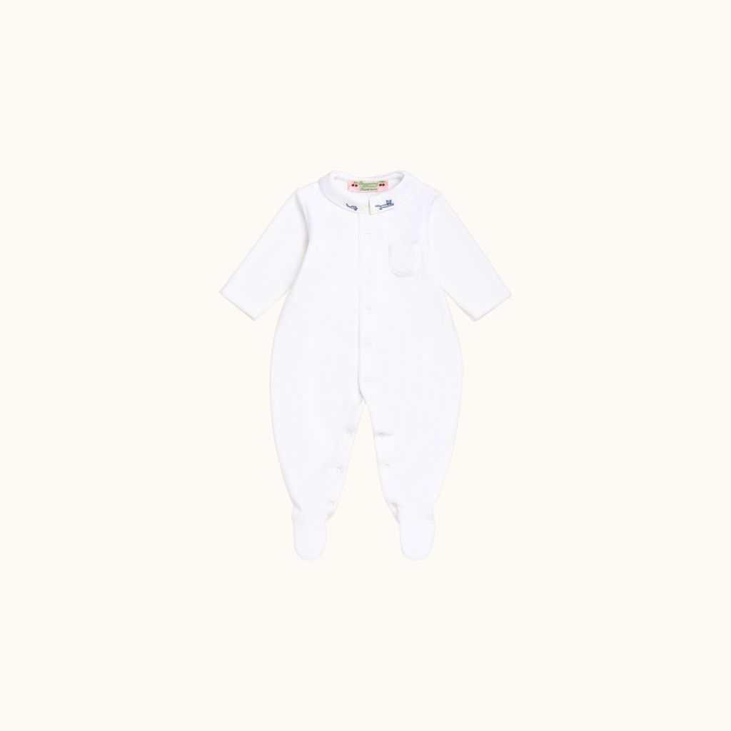 Baby pajamas white with hand-embroidered cat on collar