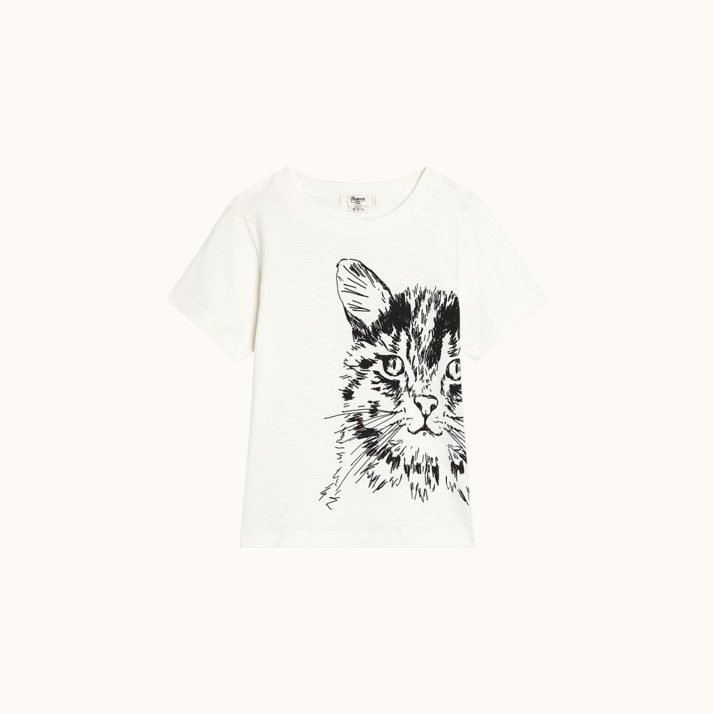 Short-sleeved Cat T-shirt milk white