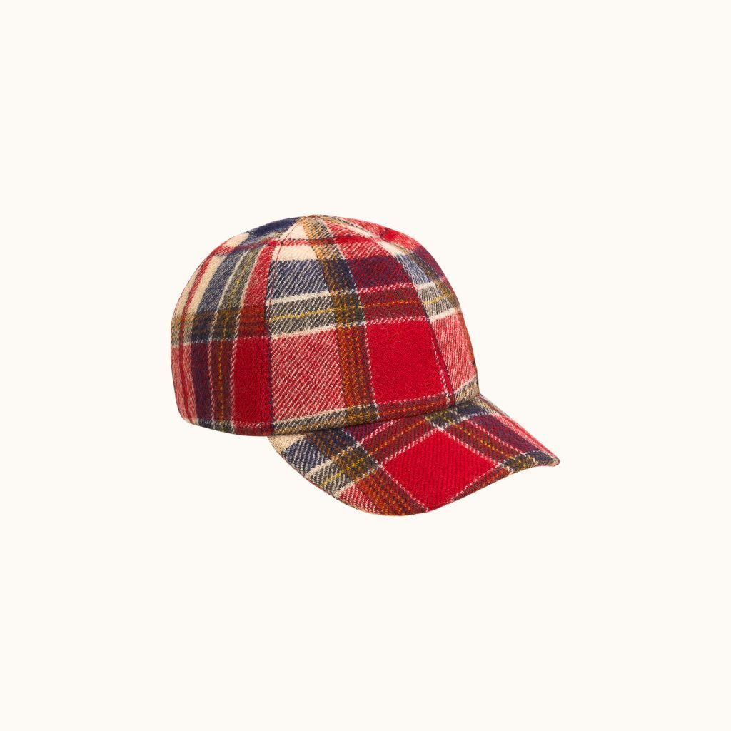 Pompon cap Red check