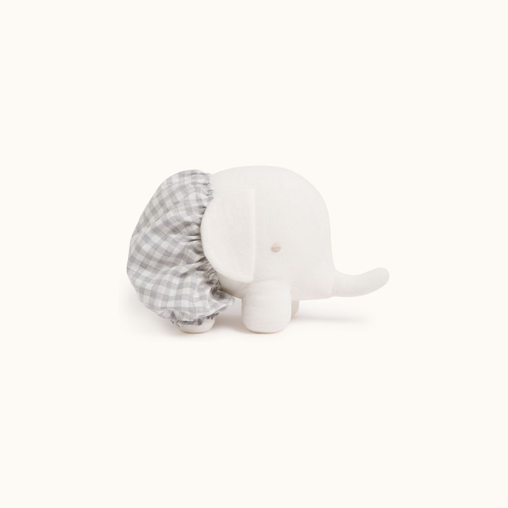 Stuffed elephant toy with bloomers light gray