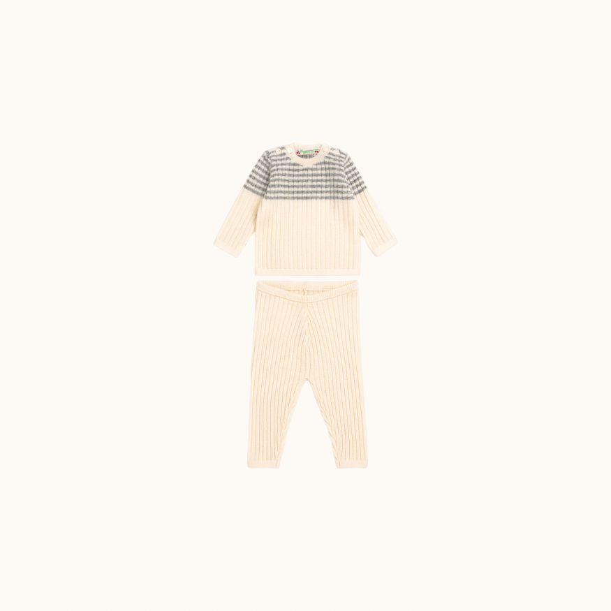 Cashmere baby set ecru with gray blue striped