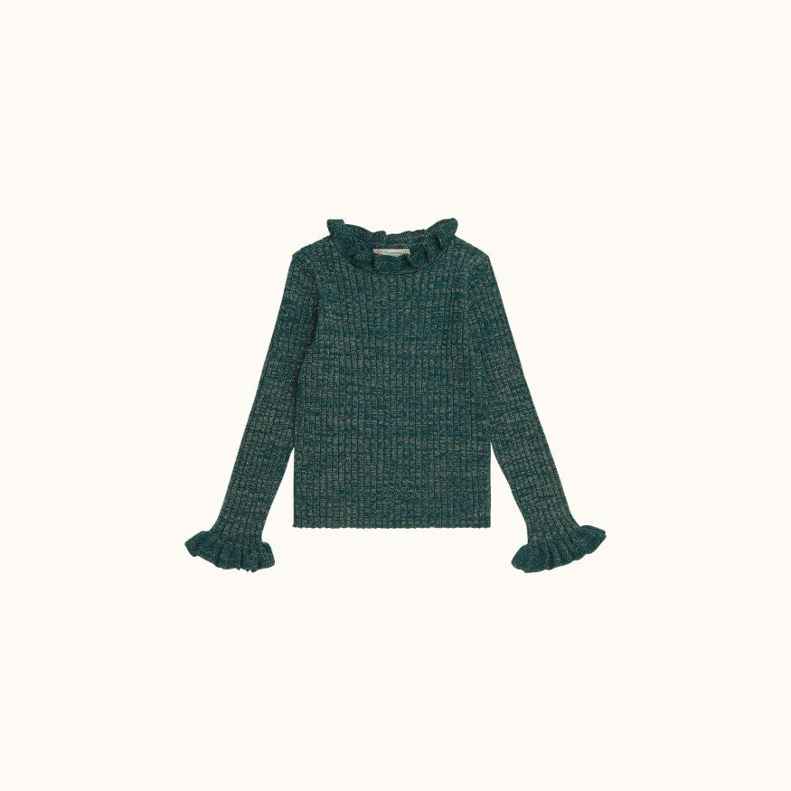 Sweater with ruff English green