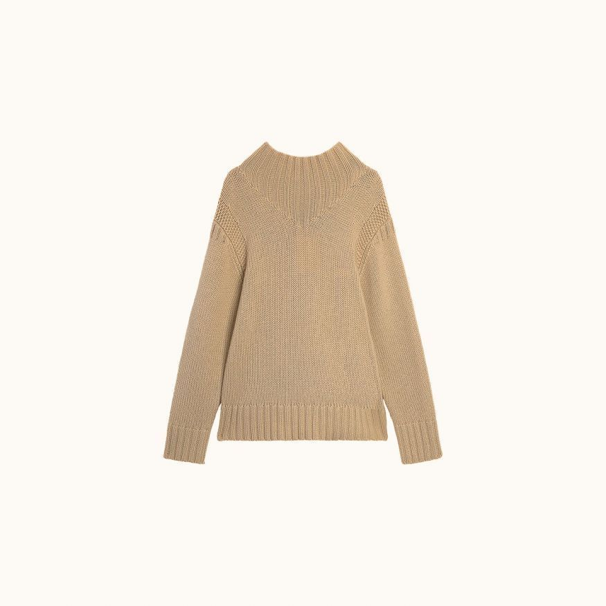 Stand-up collar sweater beige