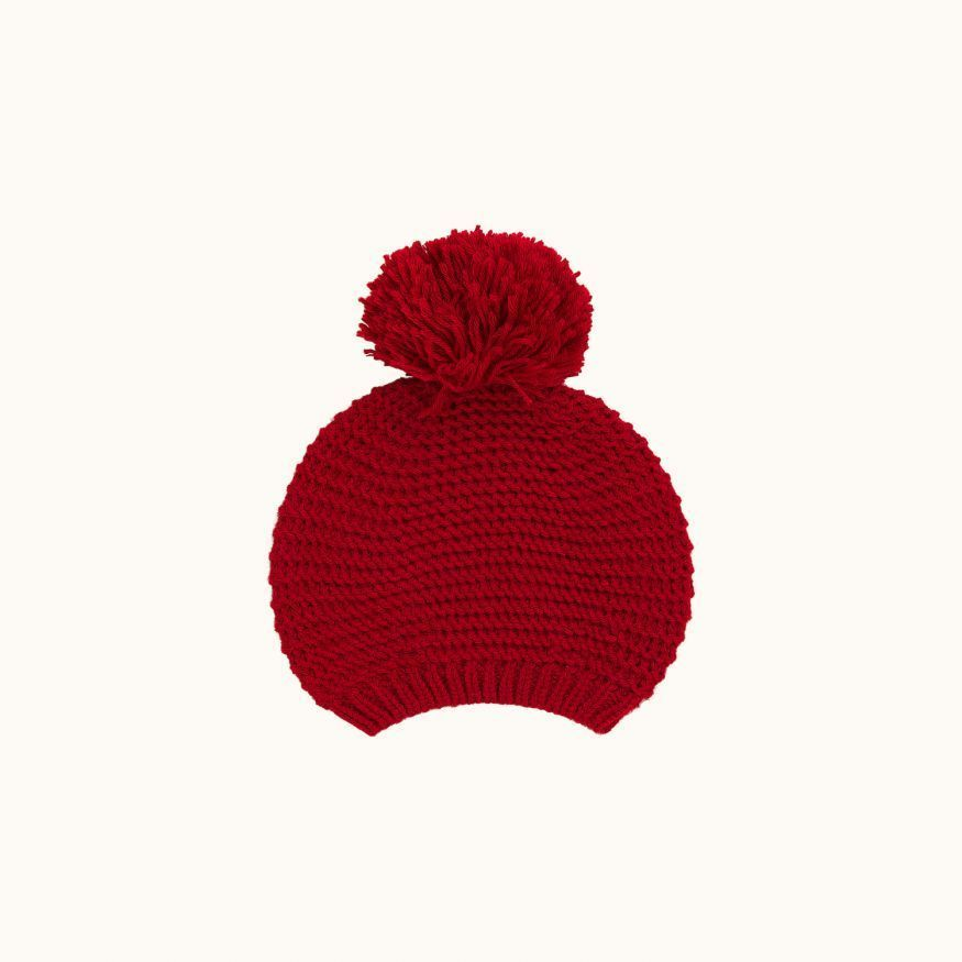 Children's wool beret red
