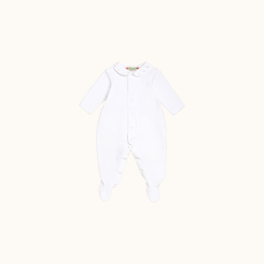 Baby pajamas white with hand-embroidered gold cherries