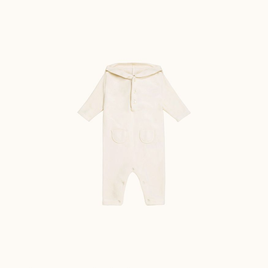 Baby hooded playsuit off white