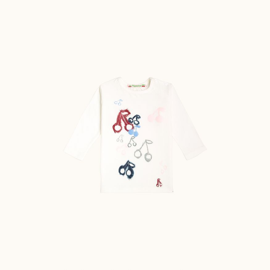 Babies' silkscreen printed T-shirt milk white