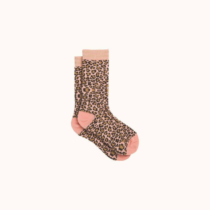 Leopard printed socks medium pink