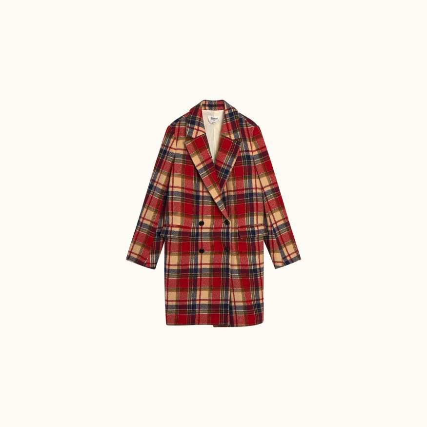 Monica coat red tartan
