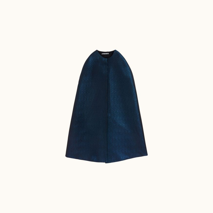 Wool cape midnight blue